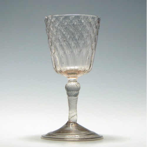 18th Century Diamond Moulded Liege Wine Glass