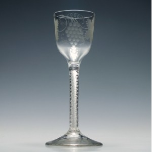 Engraved Georgian Double Series Air Twist Wine Glass c1750