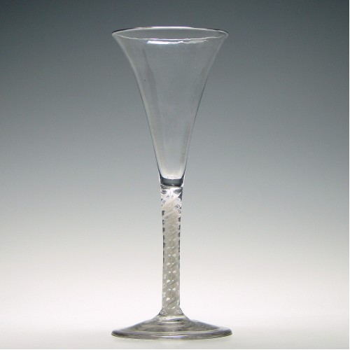 18th Century Opaque Twist Champagne Flute c1760