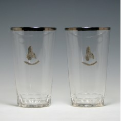 Pair Gurkha Regimental Tumblers With Silver Decoration c1960