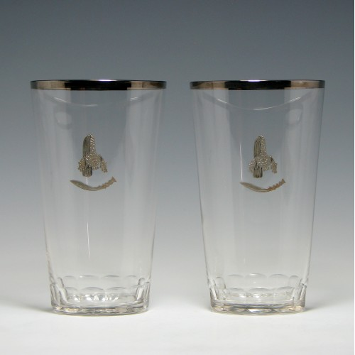 Pair of Gurkha Regimental Tumblers With Silver Decoration