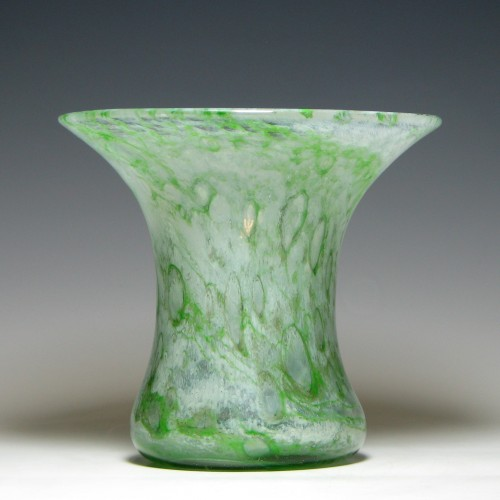 Nazeing Green Clouded Glass Vase c1935