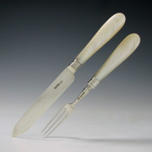 Silver And Mother Of Pearl Fruit Knife And Fork Sheffield 1902