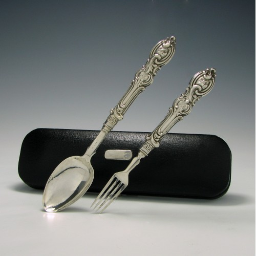 Silver Childs Fork And Spoon In Case Birmingham 1850