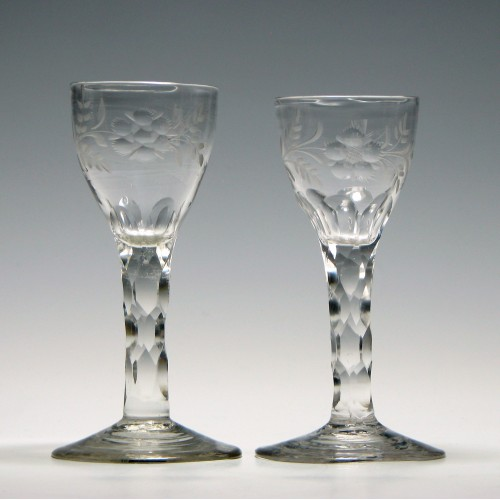 Two Jacobite Sympathy Facet Cut Wine Glasses c1780