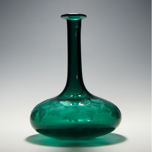 Engraved Victorian Green Mell Decanter c1840