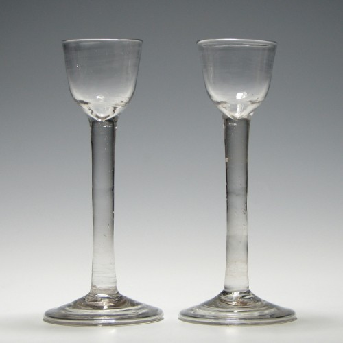 Pair Georgian Plain Stem Cordial Glasses c1740