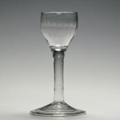 Georgian Rib Moulded Plain Stem Wine Glass c1770