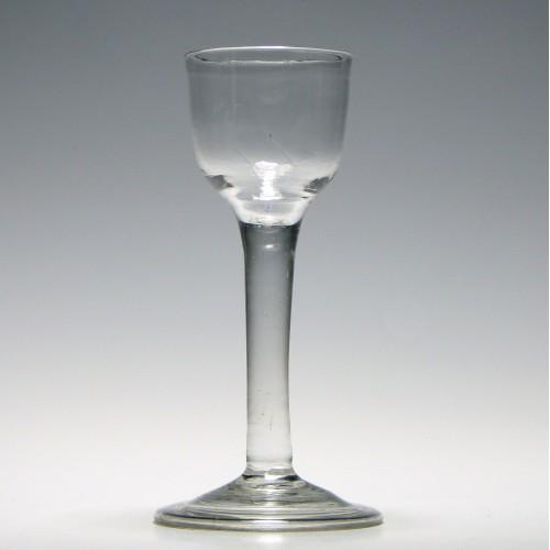 18th Century Plain Stem Wine Glass With Folded Foot c1740