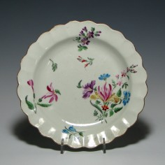 First period Worcester James Giles Fluted Porcelain Plate c1770