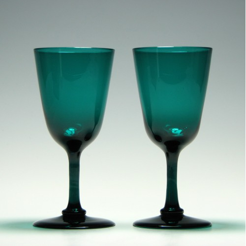 Pair of Green Victorian Wine Glasses c1880