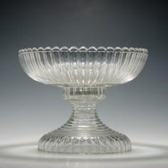 Irish Two Part Cut Glass Standing Bowl c1830