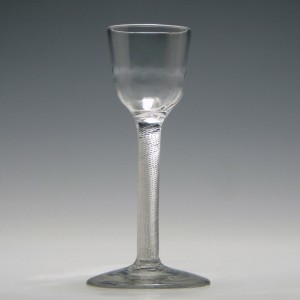 Georgian Air Twist Wine Glass With Rib Moulded Bowl c1750
