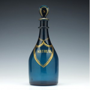 Georgian Peacock Blue Shrub Decanter c1810