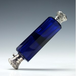 Edwardian Blue Perfume and Salts Bottle 1905