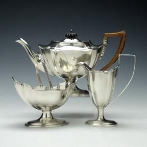 Three Piece Silver Tea Service Turner Bradbury London 1896