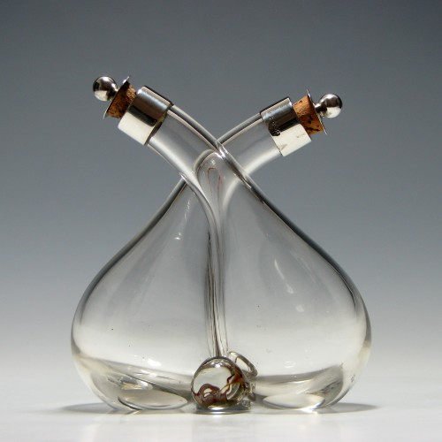 Hukin and Heath Oil and Vinegar Glass Cruet with Silver Caps 1936