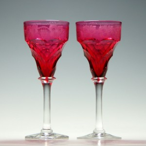 Pair of Engraved John Walsh Cranberry Wine Glasses 1930-1951