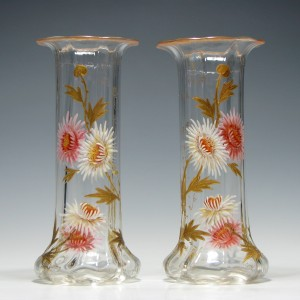 Pair of Legras Mont Joye Enamelled Vases c1910