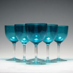 Six Victorian Peacock Blue Wine Glasses c1880