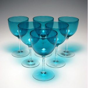 Six Victorian Peacock Blue Wine Glasses c1880