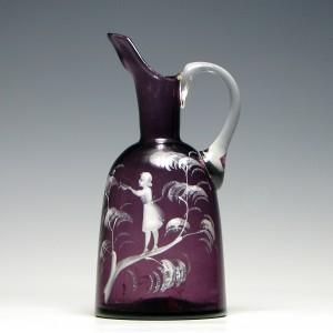 19th Century Mary Gregory Amethyst Glass Jug c1900