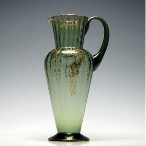 James Powell Whitefriars Gilded Green Glass Jug c1890