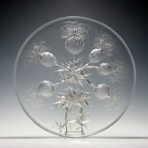 Large Josef Svarc Cut and Engraved Glass Charger