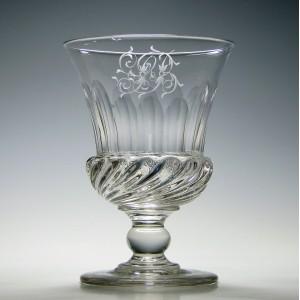 Large Engraved George IV Gardrooned Glass Rummer c1830