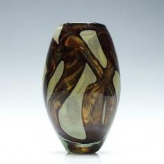 Mdina Earthtones Glass Barrel Vase c1975
