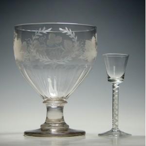Engraved Georgian Serving Rummer or Punch Bowl c1820