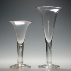 Two Large Gerogian Style Plain Stem Ale Glasses