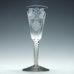 Engraved Georgian Single Series Opaque Twist Ale Glass c1760