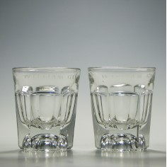 Pair of Engraved Victorian Glass Tumblers c1880