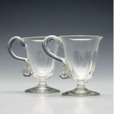 Pair of Victorian Glass Custard Cups c1850