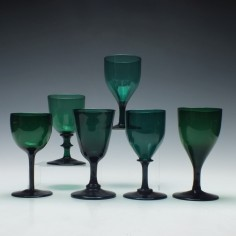 Collection of Six Green Wine Glasses