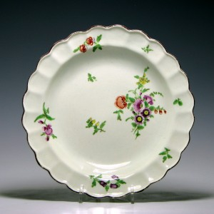 First period Worcester Fluted Porcelain Plate c1770