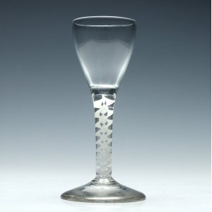 Georgian Wine Glass With Double Series Opaque Twist Stem c1760