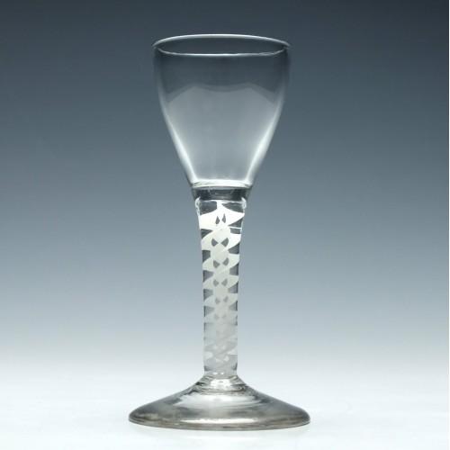 Georgian Wine Glass With Double Series Opaque Twist Stem c1760