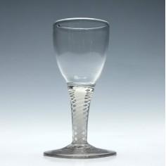 18th Century Dutch Opaque Twist Wine Glass c1790