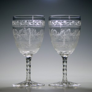 Pair of Engraved Victorian Facet Cut Goblets 1870