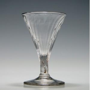 Rare Georgian Rib Moulded Gin Glass c1770