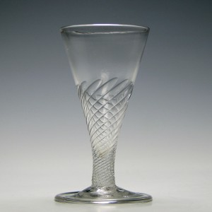 18th Century Folded Foot Wrythen Ale Glass C1750
