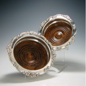 Pair of Silver Plate Wine Bottle Coasters 1880