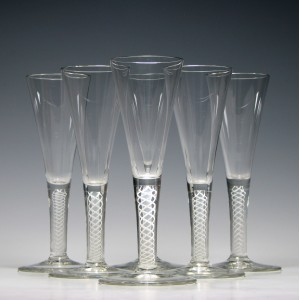 Set of Six 19th Century Opaque Twist Champagne Flute Glasses