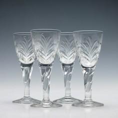 Four Intaglio Cut Port Glasses c1900
