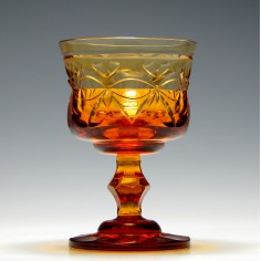 Irish Vesica Cut Amber Glass Rummer c1830