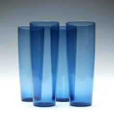 Set of Four Azure Blue Glass Tumblers c1960