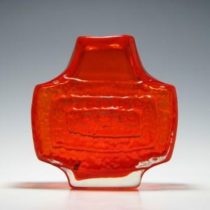 Whitefriars Tangerine Concentric Rectangle TV Vase c1970