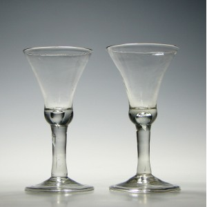 Pair of Georgian Plain Stem Wine Glasses  c1740